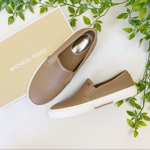 Michael Kors Boerum Khaki Leather Slip On